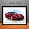 C7 Chevrolet Corvette Muscle Car Art Print, Dark Red