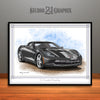 C7 Chevrolet Corvette Muscle Car Art Print, Gray
