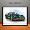 C7 Chevrolet Corvette Muscle Car Art Print, Green