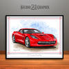C7 Chevrolet Corvette Muscle Car Art Print, Red