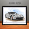 C7 Chevrolet Corvette Muscle Car Art Print, Silver