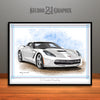C7 Chevrolet Corvette Muscle Car Art Print, White