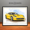 C7 Chevrolet Corvette Muscle Car Art Print, Yellow