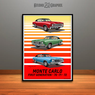 "1970, 1971, 1972 First Generation Monte Carlo Art Print - 16"" X 20"" UNFRAMED"