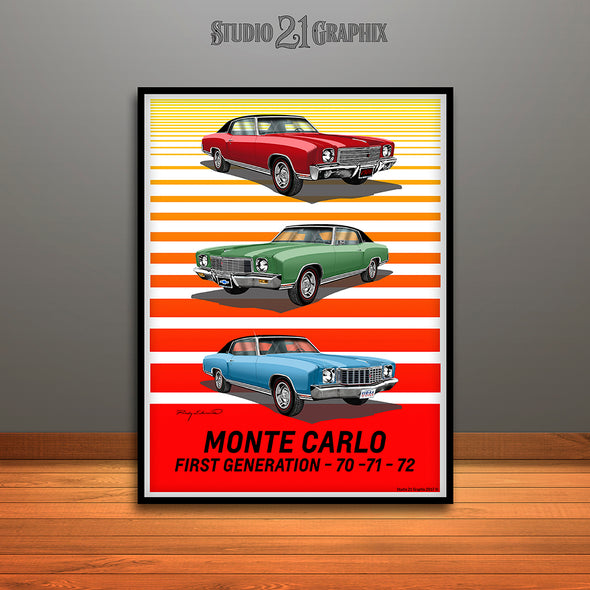 1970, 1971, 1972 First Generation Monte Carlo Art Print - UNFRAMED