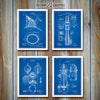 Firefighter Patent Set Of Four Prints, Firefighter Art