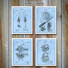 Fishing Set Of 4 Patent Prints, Fisherman Gift