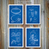 Football Set Of 4 Patent Prints, Football Coach Gift