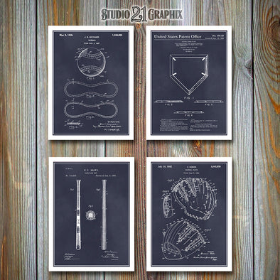 Baseball Set Of 4 Patent Prints, Baseball Coach Gift