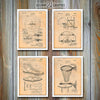 Basketball Set Of 4 Patent Prints, Basketball Coach Gift