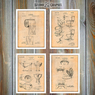 Toilet Inventions Patent Prints Set Of 4, Bathroom Decor