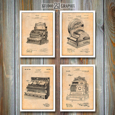 Cash Register Set of 4 Patent Prints