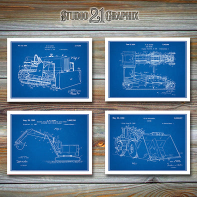 Construction Patent Prints Set Of Four Prints, Operator Gift