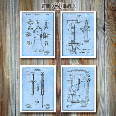 Doctor's Equipment Patent Prints Set Of 4