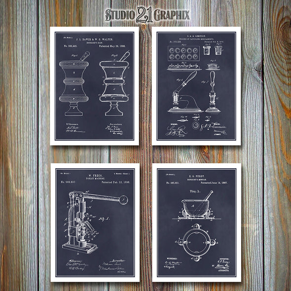 Pharmacist Druggist Patent Prints Set Of Four, Apothecary