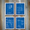 Drums Set Of 4 Patent Prints, Drummer Gift