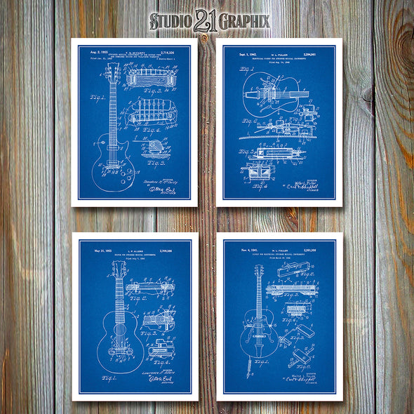 Gibson Patent Set Of Four Guitar Prints, Gibson Les Paul
