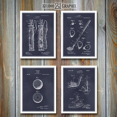 Golf Set Of 4 Patent Prints, Golf Coach Gift