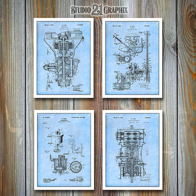 Henry Ford Patent Prints 2 Set Of 4, Ford Gift