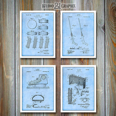 Ice Hockey Set Of 4 Patent Prints, Hockey Decor, Hockey Art