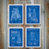 Oil Drilling Rigs Set of 4 Patent Prints, Oil Well Art