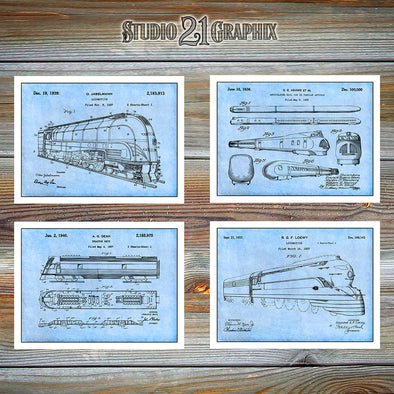 Railroad Set Of 4 Patent Prints, Locomotive, Railroad Decor