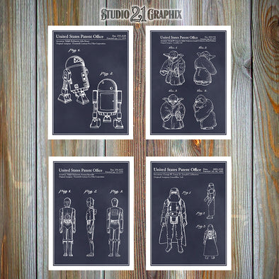 Star Wars Patent Prints Set Of 4, Star Wars Gift