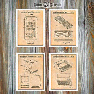 Steve Jobs Apple Set Of 4 Patent Prints, Tech Gift