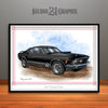 1970 Ford Mustang Mach 1 Muscle Car Art Print, Black