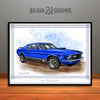 1970 Ford Mustang Mach 1 Muscle Car Art Print, Blue
