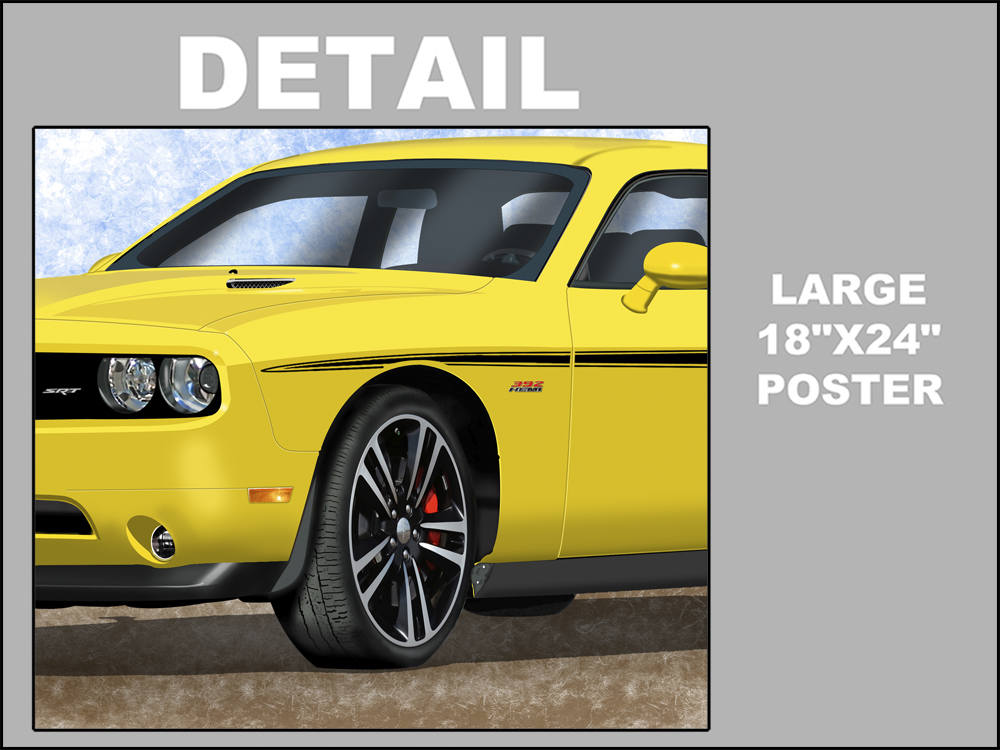 2012 Dodge Challenger Srt Yellow Jacket Art Print Unframed