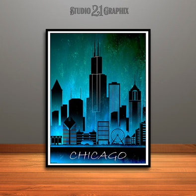Chicago Skyline Watercolor Art Print, Wall Art, Travel Decor