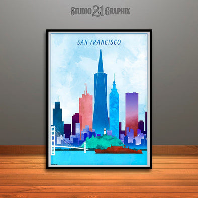 San Francisco Skyline Watercolor Art Print, Wall Art, Travel Decor