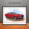 1970 Ford Mustang Mach 1 Muscle Car Art Print, Red