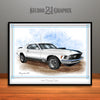 1970 Ford Mustang Mach 1 Muscle Car Art Print, White