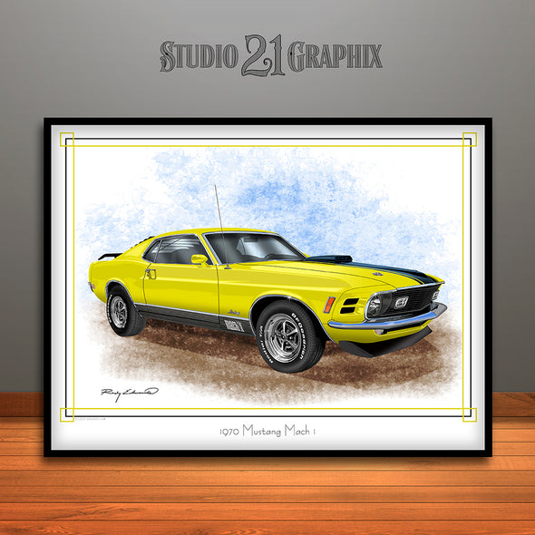 1970 Ford Mustang Mach 1 Muscle Car Art Print, Yellow