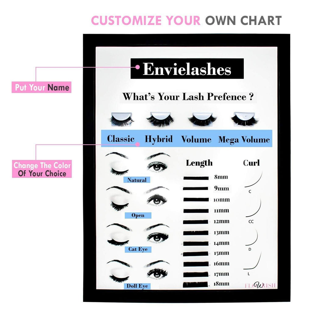 Customize your lash chart with adding your name and choice of colour