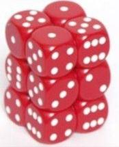 Dice Opaque 16mm d6 Red/White Dice (12)