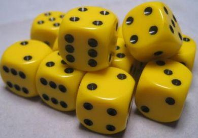 Dice Opaque 16mm d6 Yellow/Black Dice (12) CHX25602