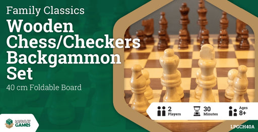 Wooden Folding Chess / Checkers / Backgammon Set 40cm