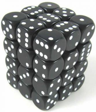 Dice Opaque 12mm D6 Black with White (36)