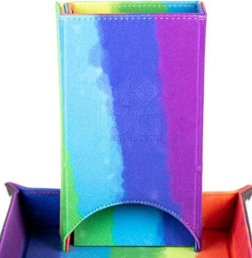 MDG Fold Up Velvet Dice Tower Watercolour Rainbow