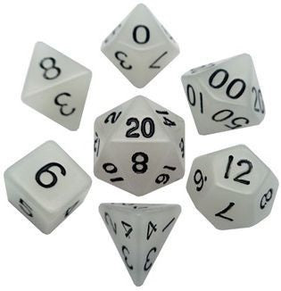MDG Acrylic Dice Set Glow in the Dark Clear Glow