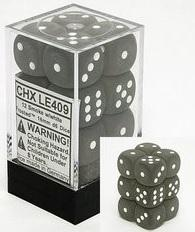 Dice Set 16mm D6 Frosted Smoke/White (12)