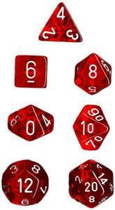 Dice Set Translucent Red with White (7)