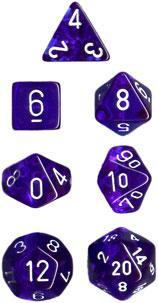 Dice Set Translucent Blue with White (7)