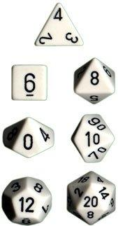Dice Set Opaque Set White/Black (7)