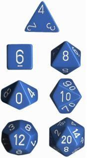 Dice Set Opaque Light Blue/White (7)