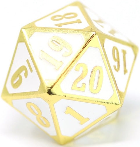 Die Hard Dice Metal MTG Roll Down Counter - Shiny Gold/White (Single)