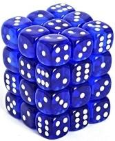 Dice Translucent 12mm D6 Blue with White (36)